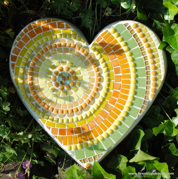 Golden Happy Day Mosaic Heart Shaped Stepping Stone Moo5080