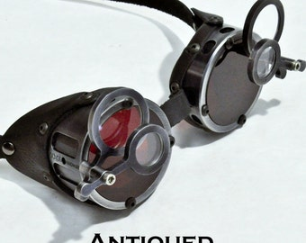 Machined Aluminum Goggles with Jewelers Lenses, Antiqued Silver- GO058AN