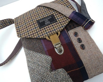 Recycled Crossbody Purse, iPhone pocket,Recycled mens suit coat, Purple Berry  Wool, Eco Friendly, Womens Handbag, Tote bag