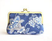 Blue Flower Clutch Customize Your Lolis Creations Clutch Bridesmaid Gift Custom Purses Personalized Bags Wedding Clutches