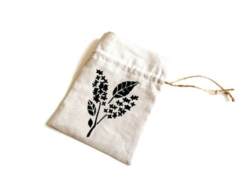Linen gift bag, hand stenciled drawstring pouch, Autumn bridal shower favor, eco friendly reusable jewelry bag, jewelry pouch