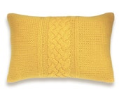 Decorative Cable Knit Pillow Cover In Yellow 12x18 inch Wool Linen Lumbar Cushion
