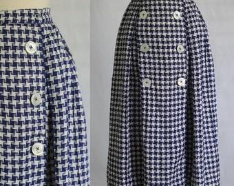 Vintage 1960s Skirt 60s Skirt Vintage Midi Skirt Houndstooth Skirt Box Pleated Skirt Navy Blue Skirt Womens Size Small