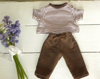 Pink and Brown Striped Shirt and Brown Pants - 14 - 15 inch doll clothes
