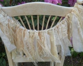 Shabby Rag  Burlap and Lace and Gossamer Silk Chiffon Garland  Tea Stained Cream Ivory Natural Rustic Wedding Chair Garland Prairie Style