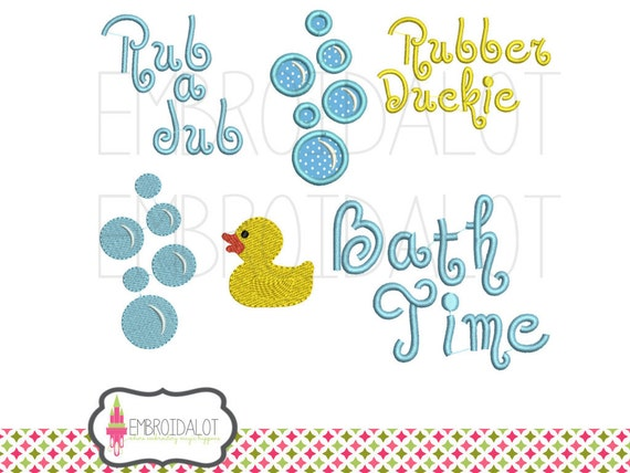 Bath time machine embroidery design rubber duck for Bathroom embroidery designs