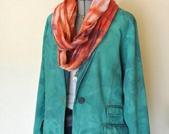 "Teal 20W XL Denim JACKET - Kelly Green Hand Dyed Upcycled CJ Blue Denim Blazer Jacket - Adult Womens Plus Size 20W Extra Large (50"" chest)"