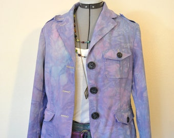 "Pink Violet Size 8 Cotton JACKET - Periwinkle Dyed Upcycled Talbots Cotton Blazer Jacket - Adult Womens Size 8 Medium (38"" chest)"