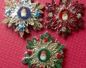 3 VIntage German Scrap Santas Ornaments-Vintage Look-German Tinsel, German Dresdens, Laser Cut Wood Snowflake