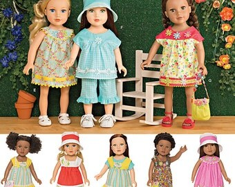 18 inch Doll Clothes Pattern, Ruffle Capris and Top, 18 inch Long Dress. Simplicity Sewing Pattern 1136
