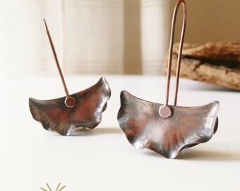 Fold formed organic copper earrings