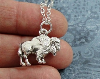 Buffalo Necklace, Silver Plated Buffalo Charm on a Silver Cable Chain