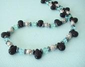 Aqua Black & Silver Necklace