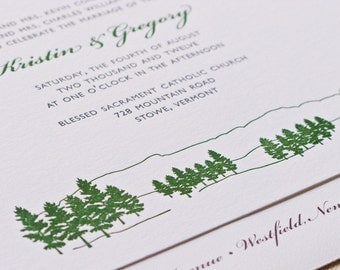 Mountain Wedding Invitation, Letterpress printed SAMPLE