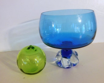 Blue Murano Art Glass Bowl