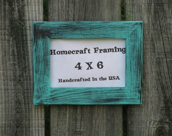 4x6 picture frame distressed wedding frame wood frame turquoise black shabby chic rustic