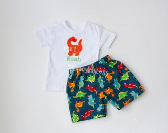 Custom Dino Shirt and Short Set for Dinosaur Birthday Outfit - ORIGINAL Design by StacyBayless for Toddler Boys