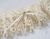 Ivory Garter with Double Ivory Ribbon Bow and Margarita Crystal Center - The ROCKY Garter