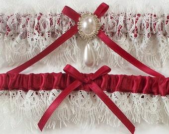 Red/Burgundy Garter Set, Wedding Garter in Eyelash Lace - The MELODY Garter Set