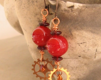 Red Glass Earrings - Red Glass Orb Steampunk Earrings with Gears