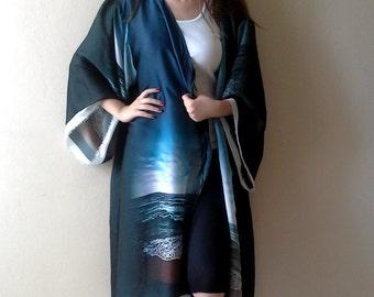 Dark blue Bridal robe/ Maternity Caftan Beach Cover up/ Loungewear Kimono Cardigans Wrap Top