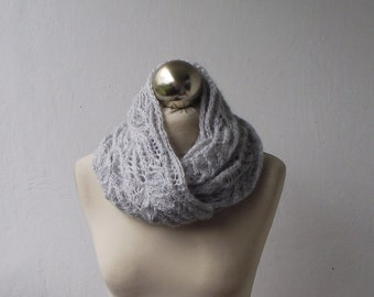 Very Light Grey hand knitted infinity scarf