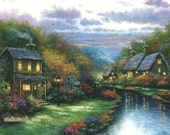 Creekside Cottages 24X30 Giclee Canvas Print, evening, nostalgic wall decor, creek, homes,  Vickie Wade art