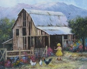 Blond Girl Barn Original Oil Painting 18X18 country landscape,  little blonde girl, chickens, farm, farmyard, paintings, Vickie Wade art