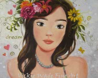 Brunette Girl Art Print, teenage girl, pretty girl, flowers in her hair, teen girls room, daughters room, dream, Vickie Wade art