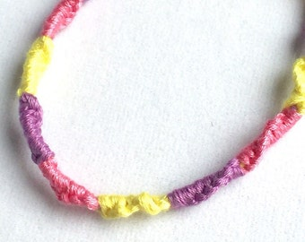 Handmade Friendship Bracelet Handmade Pink Yellow Lavender Purple- Limited Edition Sale