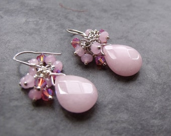 Pink Quartz Briolette with Pink Crystals and Quartz Silver Cluster Earrings