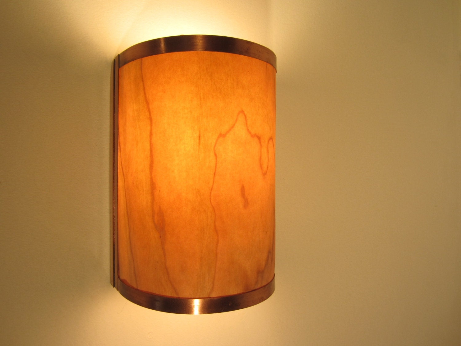Decorative Electric Wall Sconces : Rustic Wall Sconce Light Copper with Cherry Wood Electric