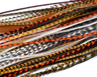 EARTH TONE Feather Hair Extension Kit: Mix of 20 Natural Colored Long Feathers + 10 crimp beads. Bulk, Hair Feathers, Craft Feathers