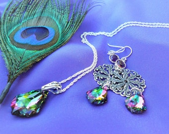 Peacock Colors Jewelry Set