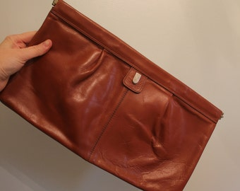 70s Phillipe Brown Leather Oversized Clutch  •  Leather Clutch  •  1970 Bag   •  Vintage Clutch  •  Vintage Brown Clutch