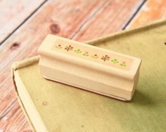 cute GRASS Merrytree fancy border rubber stamp