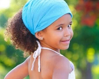 Plain Bandana, Turquoise Head Wrap, Modest Headband, Plain Head Scarf, Bright Blue Head Scarf (#2611) S M L