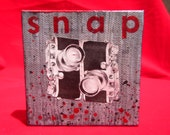 "snap - 3"" x 3"" original artwork  painting w vintage collage"