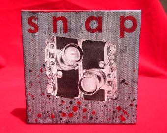 "snap - 3"" x 3"" original artwork  painting w vintage collage"