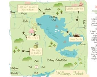 Custom Wedding Map Infographic with Itinerary - Ireland