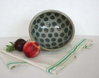 Sturdy stoneware bowl with polka dot pattern. Celadon, teal green, gray, brown, speckes, soup, serving, cereal, salad bowl.