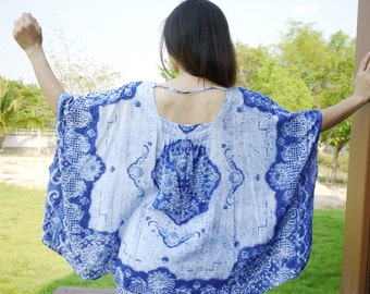 Boho Oversize Plus Size Women Top - Wide Scoop Neck Blue Printed Light Rayon Blouse Poncho With Curved Hem