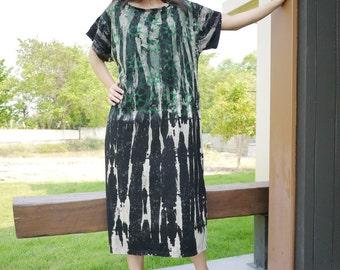 SALE - Dark Green Graphic Printed Tie Dye Black Cotton Jersey Sundress Women Tops Tunic Dress