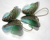 "Beautiful butterflies earrings ""Caresse de papillon"" / emerald green - 2121"