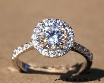 Diamond Engagement Ring  -14K white gold - Round - Halo - Pave  - Bph025