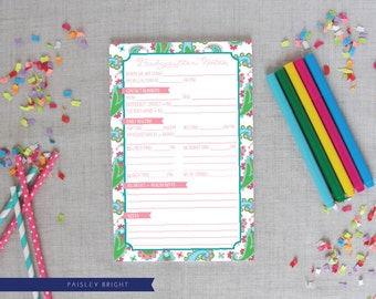 Babysitter Notepad | Paisley Pattern | Bright or Pastel Colors | Babysitter Notes | Baby Shower Gift