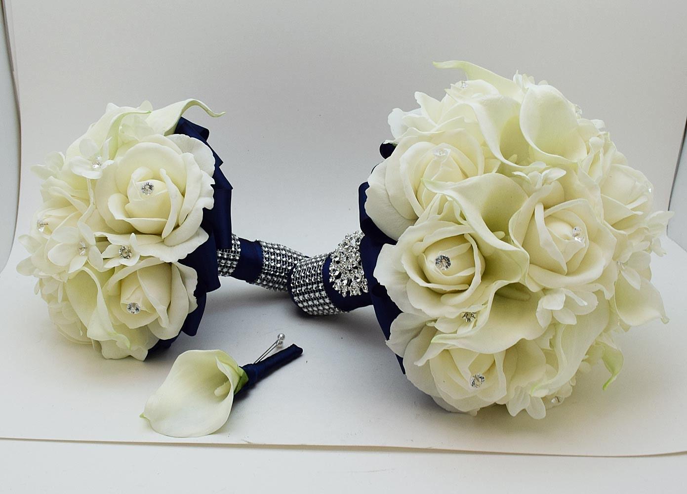 Reserved Navy White Wedding Flower Package By SongsFromTheGarden