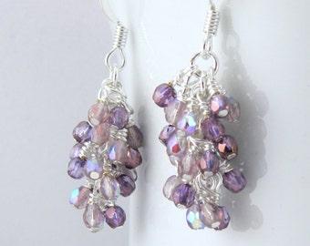 Amethyst Glass Cascade Dangle Earrings, Purple Cluster Earrings