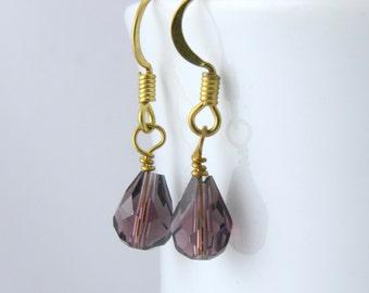 Purple Crystal Drop Earrings in Gold