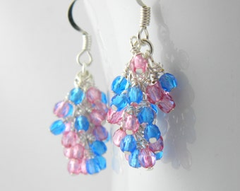 Pink and Blue Cluster Earrings, Sterling or Steel Earring Wires, Blue and Pink Earrings